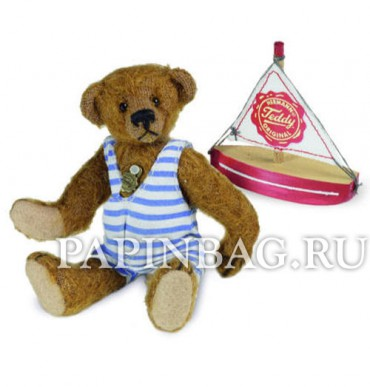 Коллекционный мишка Teddy with boat, 10 см, Limited Edition Hermann Teddy Miniaturen